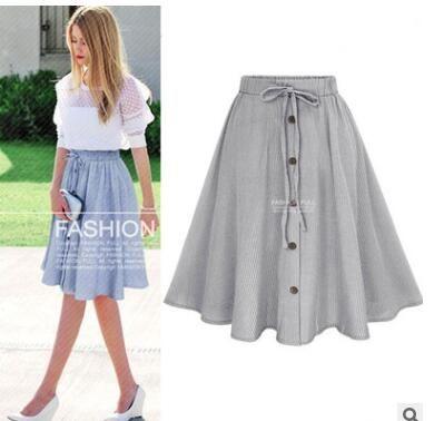 67cba7a5926 2019 New Arrivals Striped Denim Skirt Women 2019 High Waist Midi Girls Jean  Skirts Button Lace Up Female A Line From P554896333, $12.65 | DHgate.Com