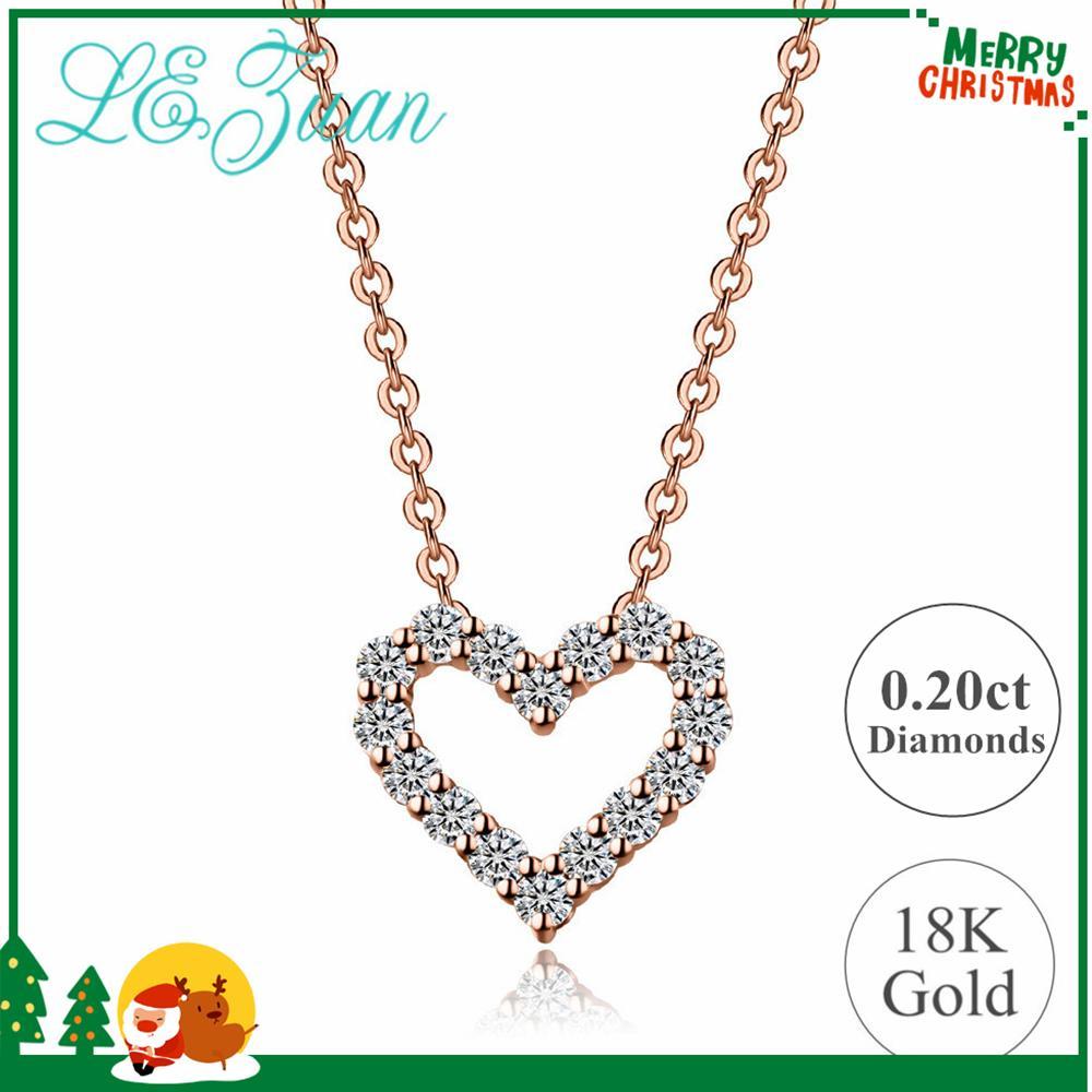 852efdcb2be4 Compre Lzuan Genuino 18 K Oro Sólido Colgante Para Mujer Natural 0.2ct  Collar De Diamantes En Forma De Corazón Joyería Fina Regalos De San  Valentín ...