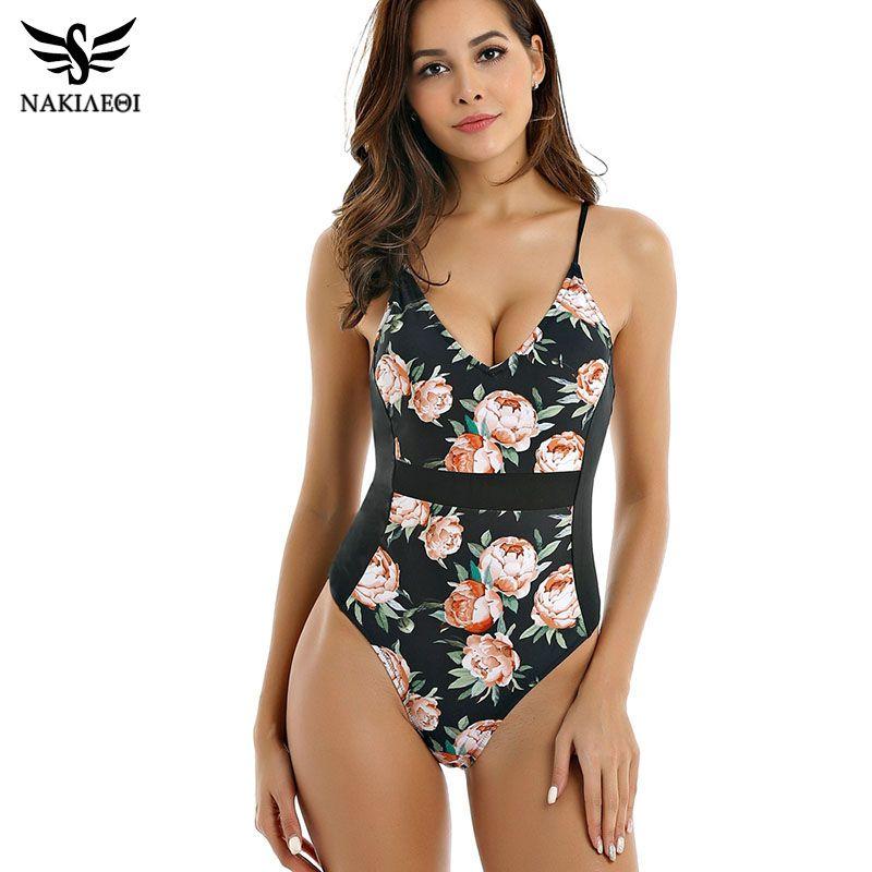 df6635b5ca 2019 NAKIAEOI Plus Size Swimwear Women One Piece Swimsuit 2019 Retro  Vintage Bathing Suit Beachwear Patchwork Print Monokini Swimsuit From  Gqinglang, ...