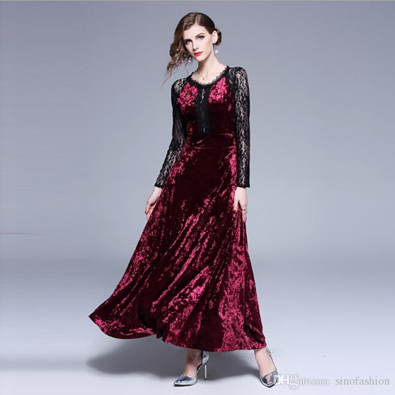 bf09ad11844 Tunic Banquet Prom Dress for Women Party Lace Evening Gowns Autumn ...