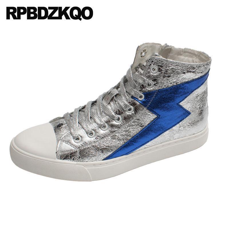 de83d077b55d4 Compre Marca De Hip Hop Alta Top Hombre Diseñador De Plata Zapatos Casuales  Zapatillas De Deporte De La Pista Corredores De Lujo De Skate Estilo De La  Calle ...