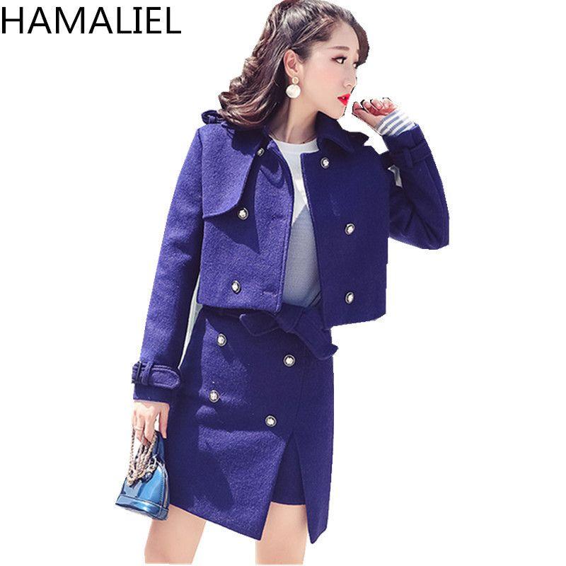 da4d0972ed156 HAMALIEL Autumn Winter Women 2 Piece Set 2018 Runway Tweed Wool Blends  Double-Breasted Warm Jacket Coat Bow Split Skirt Suits C19011501
