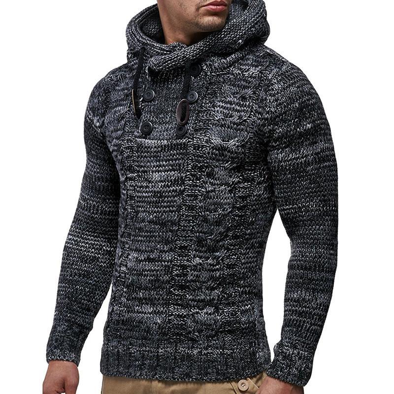 268b5500b 2019 hombres suéter otoño invierno jerseys de punto chaqueta de punto  suéter con capucha chaqueta Outwear Casual Slim Fit cuello alto Top Y1