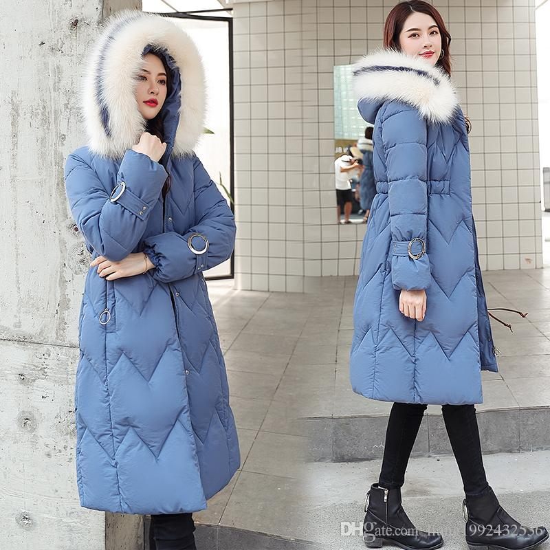 Wholesale winter new down cotton padded women's long section thickening waist thin fur collar cotton coat size S-3XL