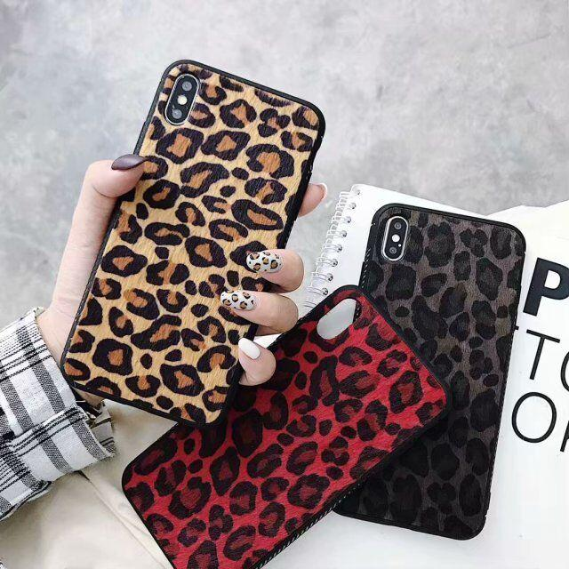 Apply Apple And 8plus / iphone 8 Hand cover, Iphonex /iphone Xs /iphone Xr / Max Protect Sheath Lint Leopard Print Woman case