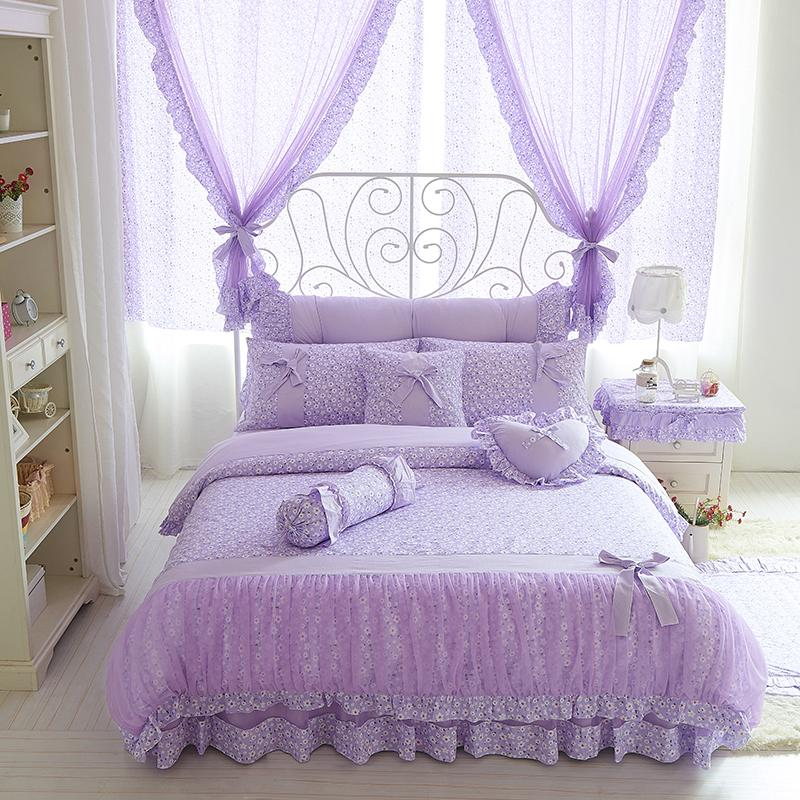 Cotton Lace Purple Floral Bedding Set Twin Queen King Size Adults