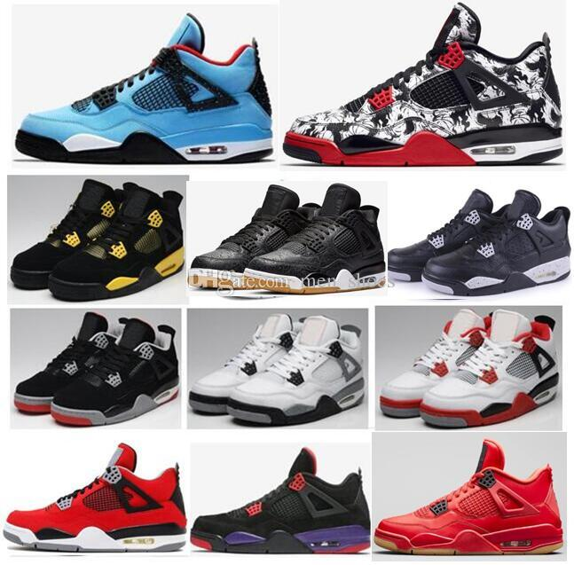 High Quality 4 Travis Scotts Cactus Jack Black Gum 2019 Bred Basketball  Shoes Men Tattoo Oreo Raptors Thunder Fire Red Sneakers With Box Sports  Shoes ... 228001aac