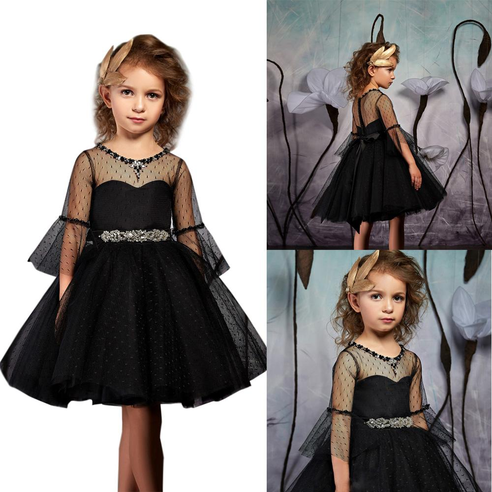 a1ca5e25a519 Black Sleeves Knee Length Tulle Birthday Pageant Communion Gowns Lace Tulle  Flower Girl Dress For Special Occasions Little Bridesmaid Dress Girls Red  Shoes ...