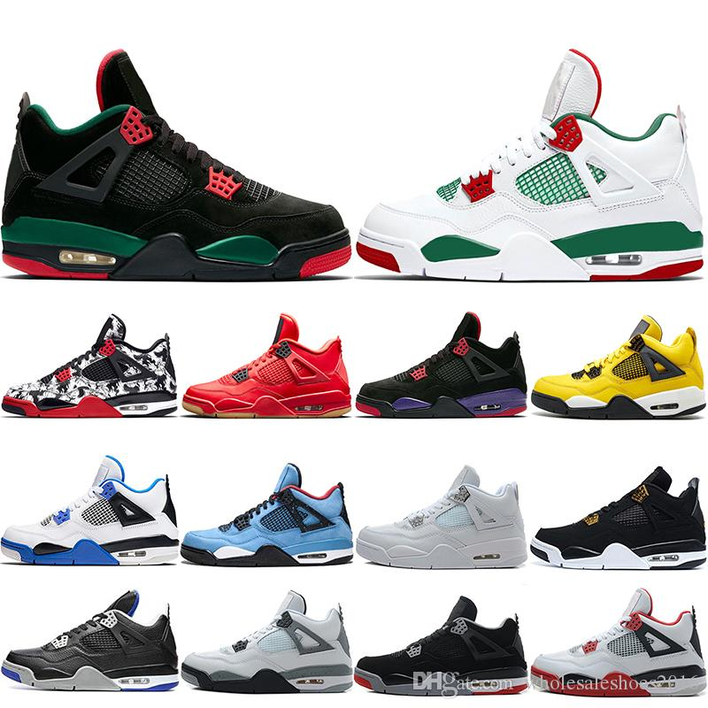 7015259ed23b56 2019 2019 Bred 4 4s Men Basketball Shoes OG NRG Raptors Pure Royalty Black  White Cement Lighting Tattoo Singles Day Sports Sneakers Size 41 47 From ...