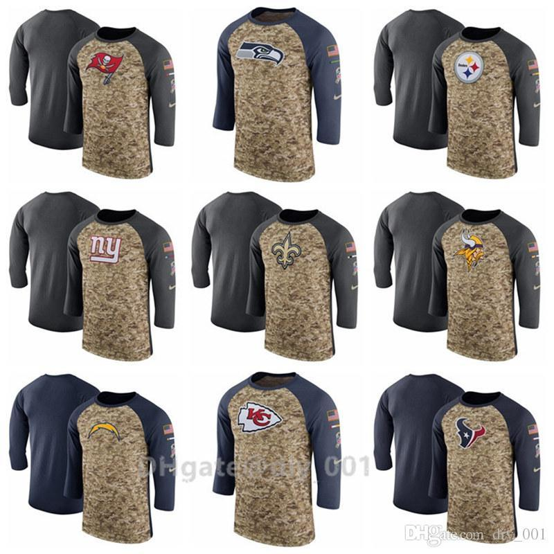 87d6dc8ae 2019 Men Women Buccaneers New Orleans Saints Vikings Chargers Salute To  Service Sideline Legend Performance Three Quarter Sleeve T Shir From Sata