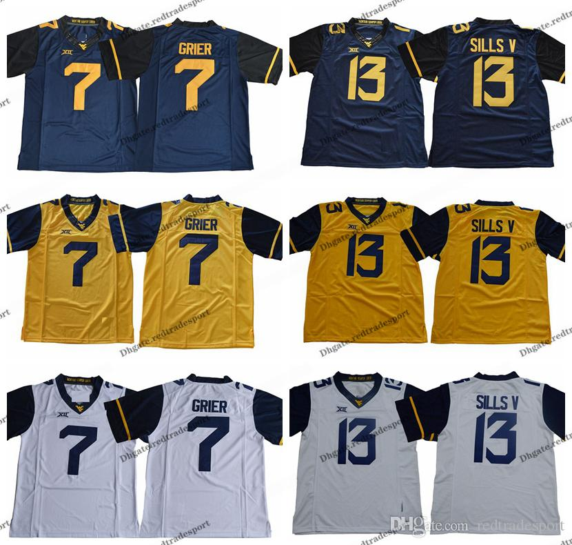 brand new cb61c 7d229 2019 West Virginia Mountaineers 13 David Sills V 7 Will Grier College  Football Jerseys Blue Yellow #7 Will Grier University Football Shirts