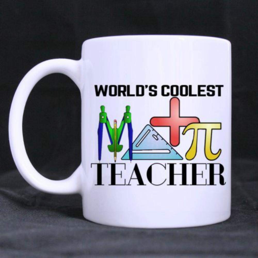 World's Coolest Math Teacher Gifts Mugs for Teacher Funny White Mug 11oz Coffee Mugs or Tea Cup Cool Birthday Christmas Gifts
