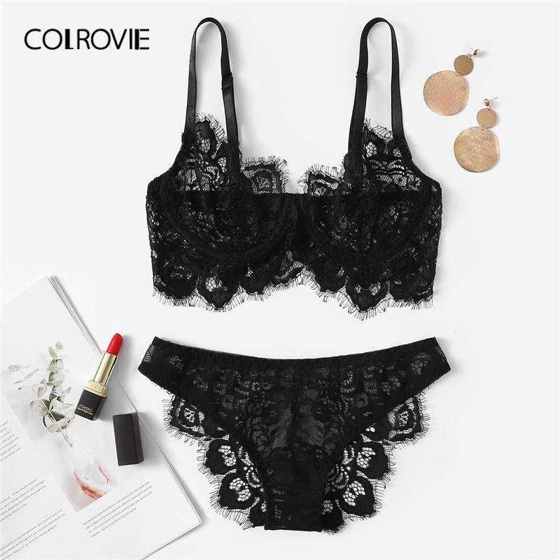 c5b041c8cf6b 2019 COLROVIE Black Eyelash Lace Sexy Lingerie Set Briefs Women Intimates 2019  See Through Transparent Underwire Underwear Bra Set From Liumeiwan, ...
