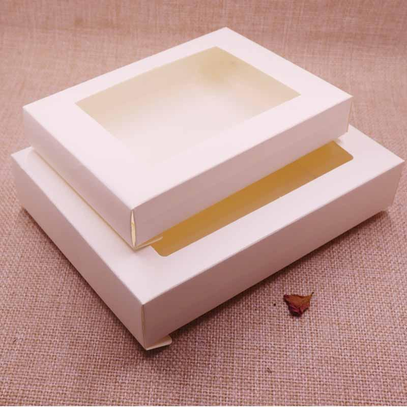 Vintage/Ivory Box Kraft paper gift box package with clear pvc window candy favors arts&krafts display package box 10pcs