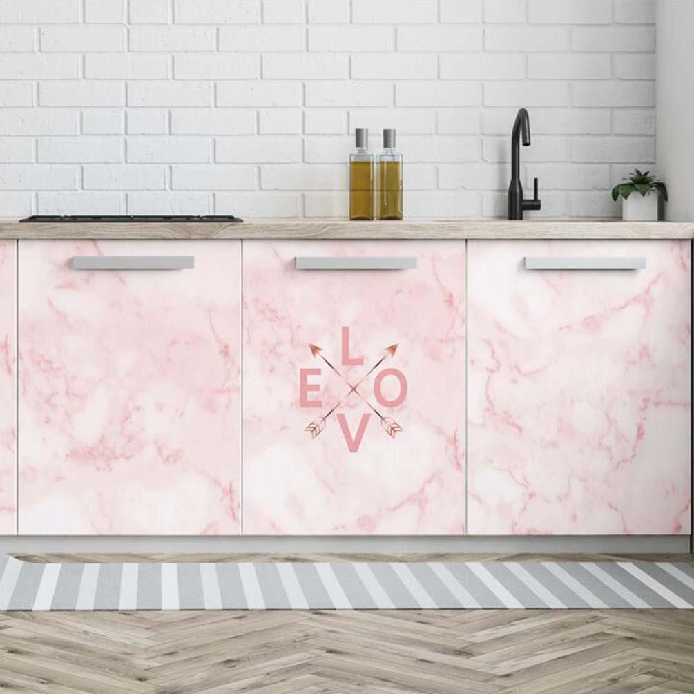 Pink Marble Pattern Kitchen Wallpaper Cupboard Fridge Waterproof