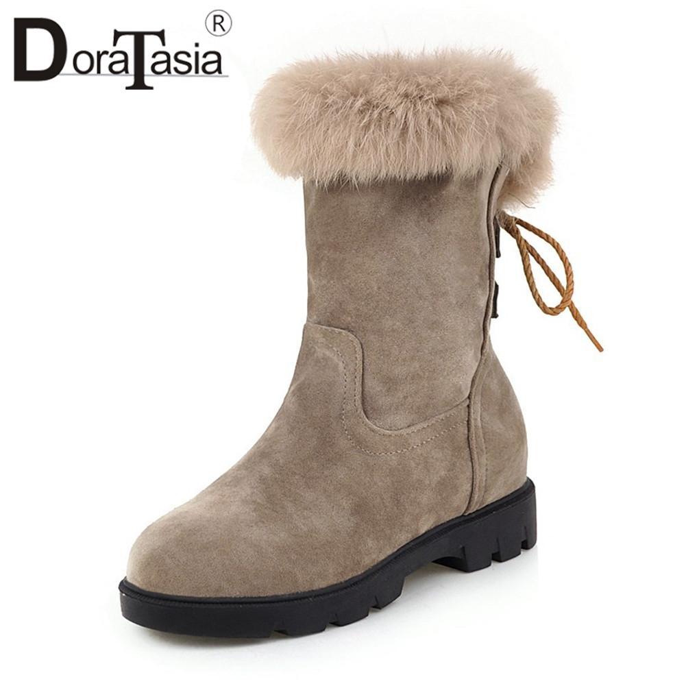 DORATASIA Tamaño grande 33 44 Nuevas botas de nieve de piel Tacones bajos anchos Zapatos atados cruzados antideslizantes Mujer Casual Invierno Cálido