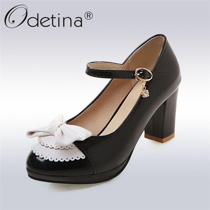 c7966ec5aa4 Odetina New Women s Chunky Block Heel Ankle Strap Pumps Bow Tie ...