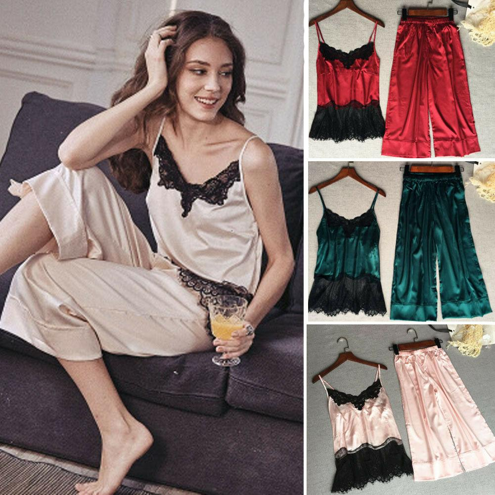 b3adaa494609 2019 2019 New Style Fashion Hot Women S Satin Silk Lace Sleepwear  Sleeveless Lace Patchwork Nightwear Gown Sets From Waxeer