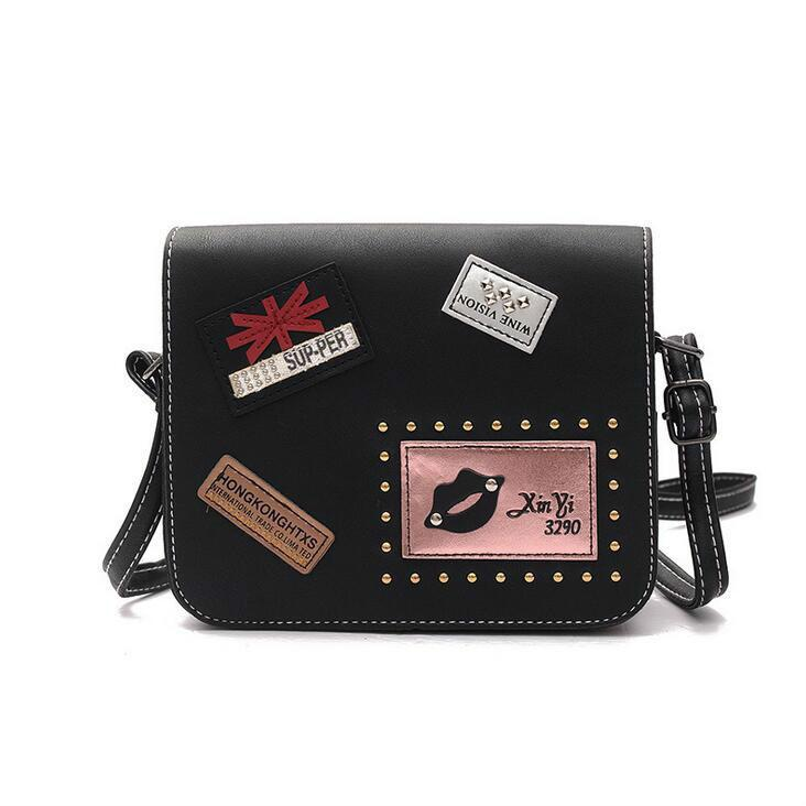 afc9c43a3b5c 2019 Fashion New Female Bag Handbags Quality Pu Leather Women Bags British  Retro Badge Square Bag Rivet Shoulder Messenger Bag Ladies Purse Leather ...