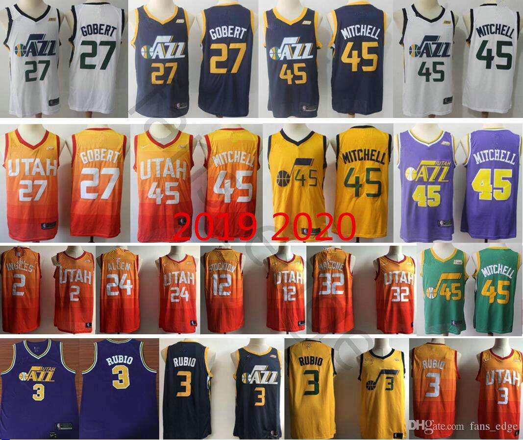 the latest 3ce07 1c434 Utah City Donovan Mitchell Rudy Gobert Ricky Rubio Joe Ingles John Stockton  Karl Malone Grayson Allen Basketball Jersey