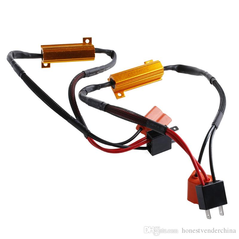 2Pcs H7 50W 6Ohm LED DRL Fog Light Canbus Load Resistor Wiring Harness H Wiring Harness on