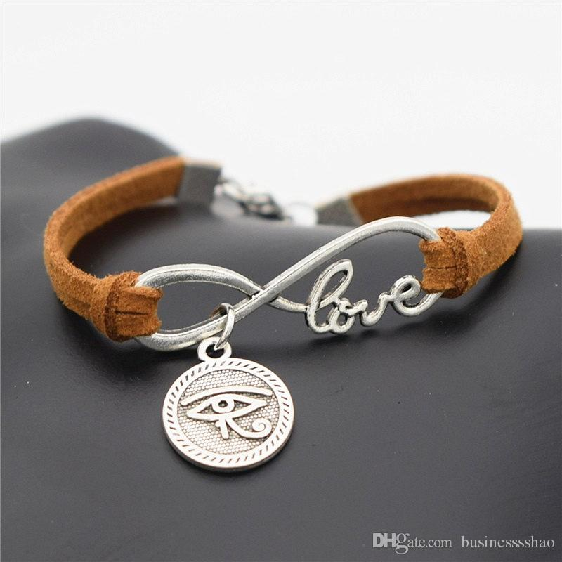 Fashion Ethnic Silver Ancient Egypt Totem Round Eyes of Horus Charm Lucky Women's Egyptian Eyes Love Infinity Brown Leather Suede Bracelets