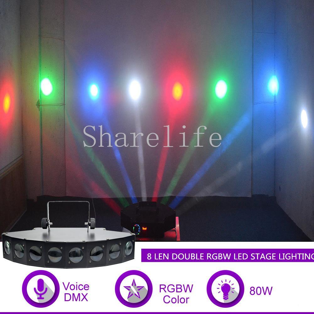 Sharelife 80w 8 lens rgbw beam led sound dmx fan shaped projector light dj party home show gig ktv wedding stage lighting x 8h led stage lighting packages