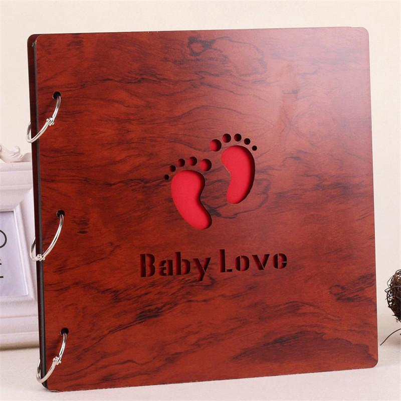16 Inch Wood Cover DIY Photo Albums Handmade Photographs Scrapbook 60 Pages Photo Album Scrapbooking Corner Birthday Gift