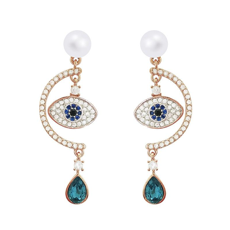 df2fd7f1f 2019 2018 Time Limited New Golden S925 Silver Needle Fashion Korean Version Evil  Eye Pearl Earrings Woman Personality Natural Crystal Earring From ...