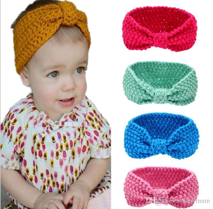 Großhandel Kinder Mädchen Winter Häkeln Warme Stirnbänder Baby