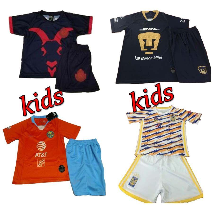 new style 79665 ed87a Kids Third Orange Club America UNAM Soccer Jersey 19 Home Away Shirt  Football Uniforms youth Kit Chivas Guadalajara TIGRES UANL