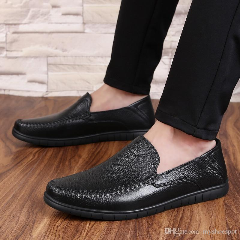 30a792e3ba9ad Casual Men Loafers Spring and Autumn Mens Slip on Soft Leather Moccasins Shoes  Genuine Leather Men's Flats Shoes Big Size 36-46 #253802