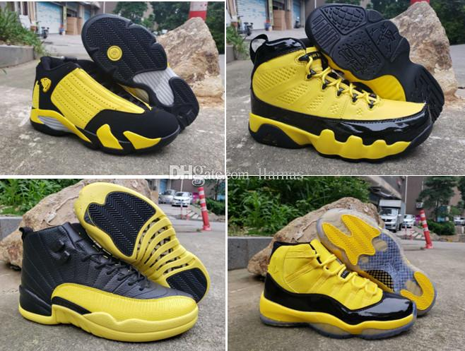 2019 New Bumblebee High black and yellow Men Basketball Shoes 1s 11s 12s 9s 14s tn sneakers sports outdoor trainers high quality size 7-13