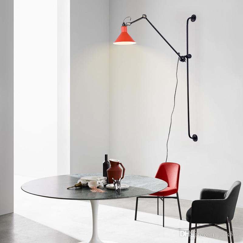 Modern Long Arm Wall Lamp With Industrial Sconce Foldable Adjustable Swing Arm Wall Lighting With Lampshade
