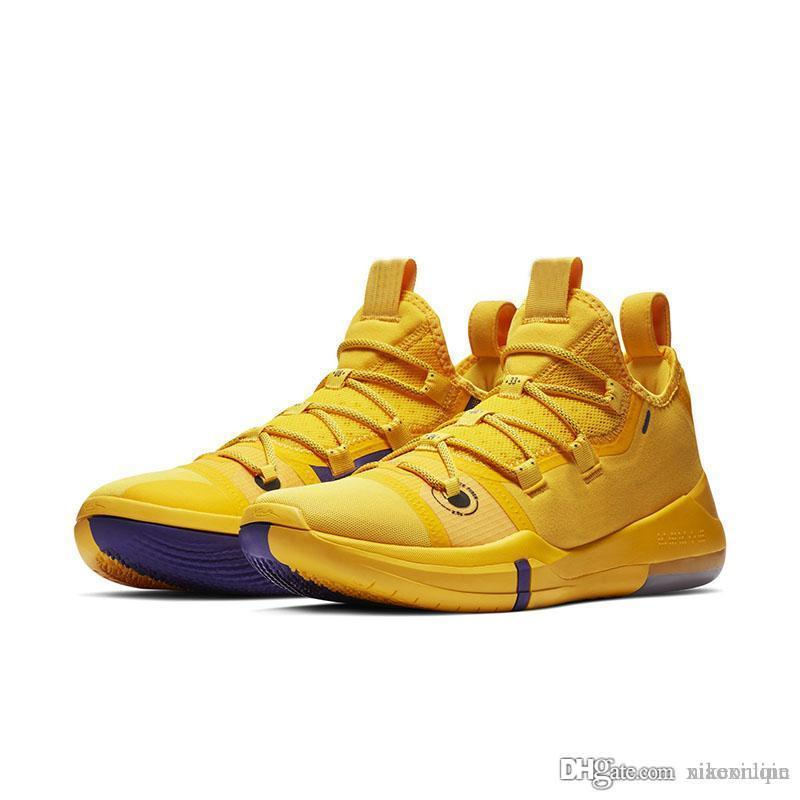 newest f23f5 c421b Mens kobe ad 12 basketball shoes Team Red Yellow Black Gold White Pink low  cut youth kids kb xii elite sneakers boots with box size 7 12