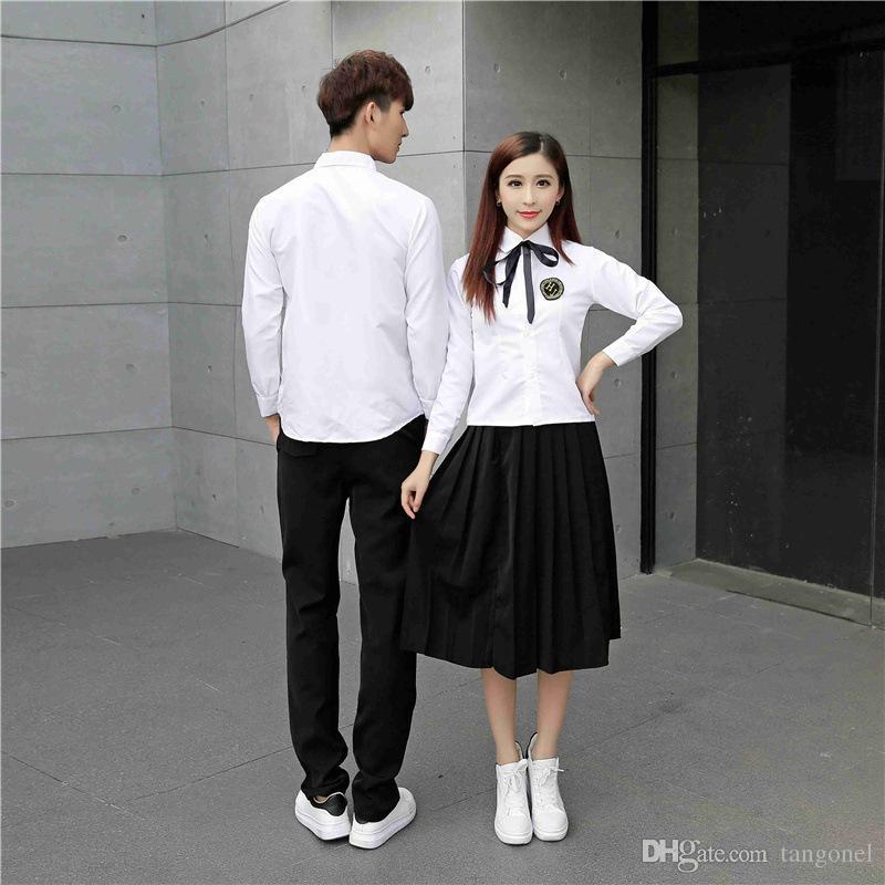 fe4e3d6af Uniformes escolares japoneses para niñas Trajes de clase Camisa blanca  Falda larga Trajes de uniformes JK Koran School College Ropa para niños