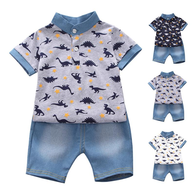 Summer Baby Boys Sleeve Blouse Enfants Tops Short Ensembles Tenues Shirt + Shorts Dinosaure Vêtements Garçons Casual 2 Pcs Imprimer