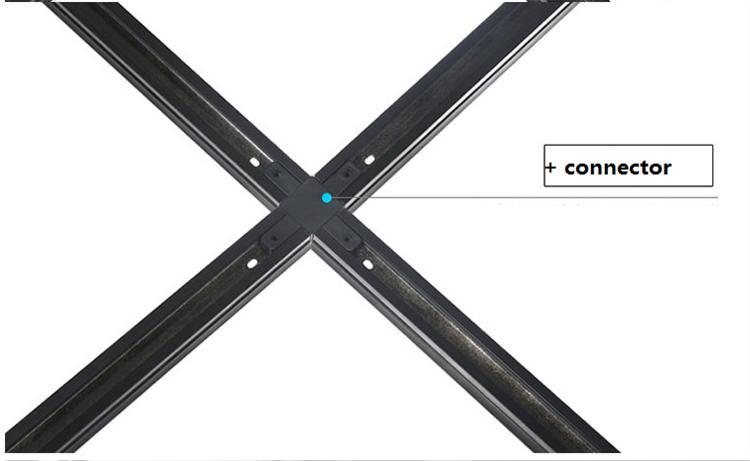 Carril de luz LED para carril de 2 líneas, carril de plomo blanco y negro de aluminio de 50 cm con conectores, carril de luz montado en el techo / pared