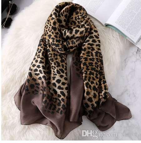 d4272c9aad4fa Luxury Brand Women Ombre Leopard Dot Silk Scarf Lady Fashion Print ...