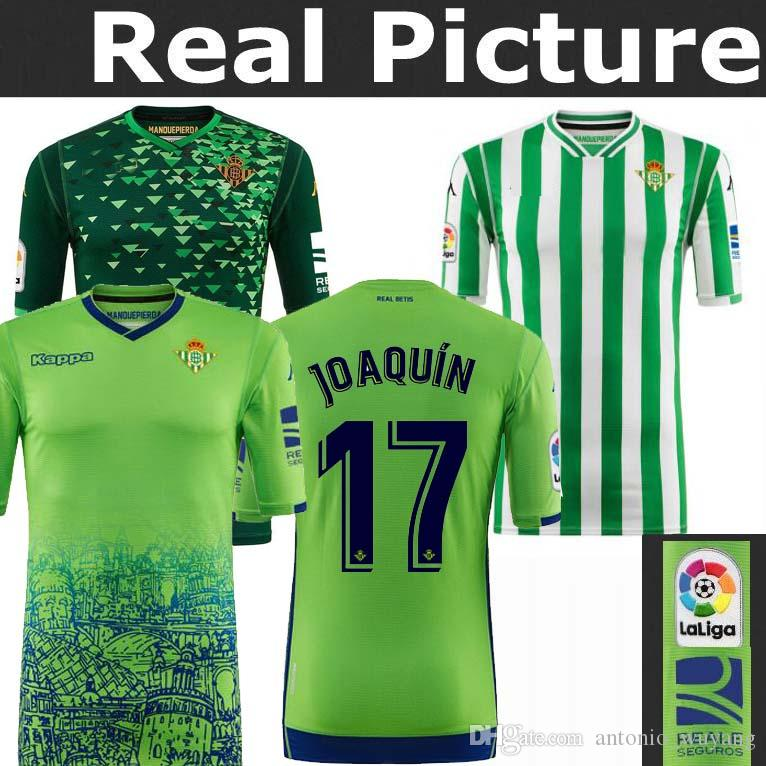 Compre 2018 2019 Royal REAL Betis Camisa De Futebol HOME 18 19 JOAQUIN  BOUDEBOUZ MANDI BARTRA TELLO INUI JAVI GARCIA CANALES Camisas De Futebol De  ... 52f814443ff41