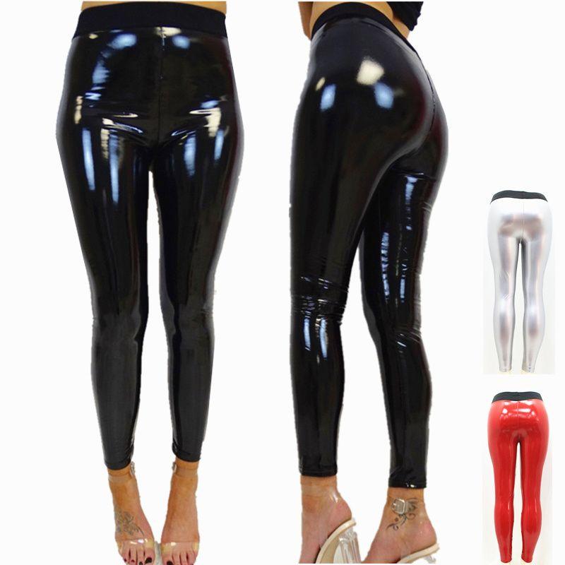 3562583ef757 2019 Women Vinyl Leggings Wet Look PU Leather Leggings Black Slim Long  Pants Women Sexy Push Up Skinny Red Silver Leggins From Aprili