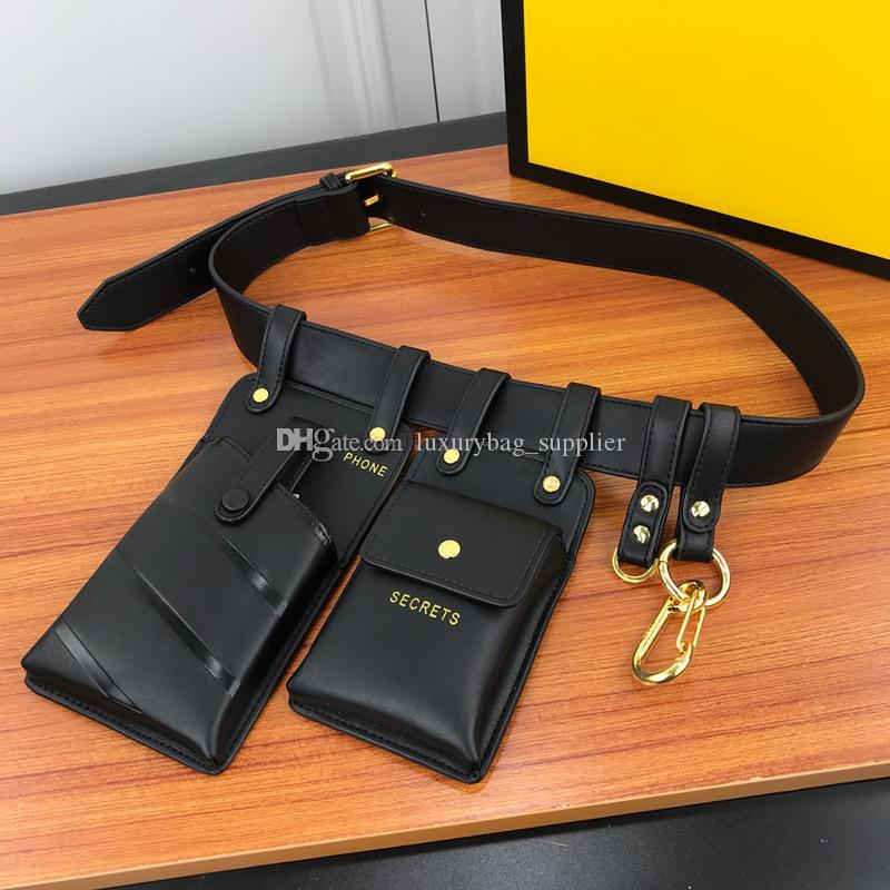 Designer Wallet Designer Bags Waist Bag Matching Belt Cell Phone Bags Key Rings Spring Buckles Gold Metal Shoulder Belt 115