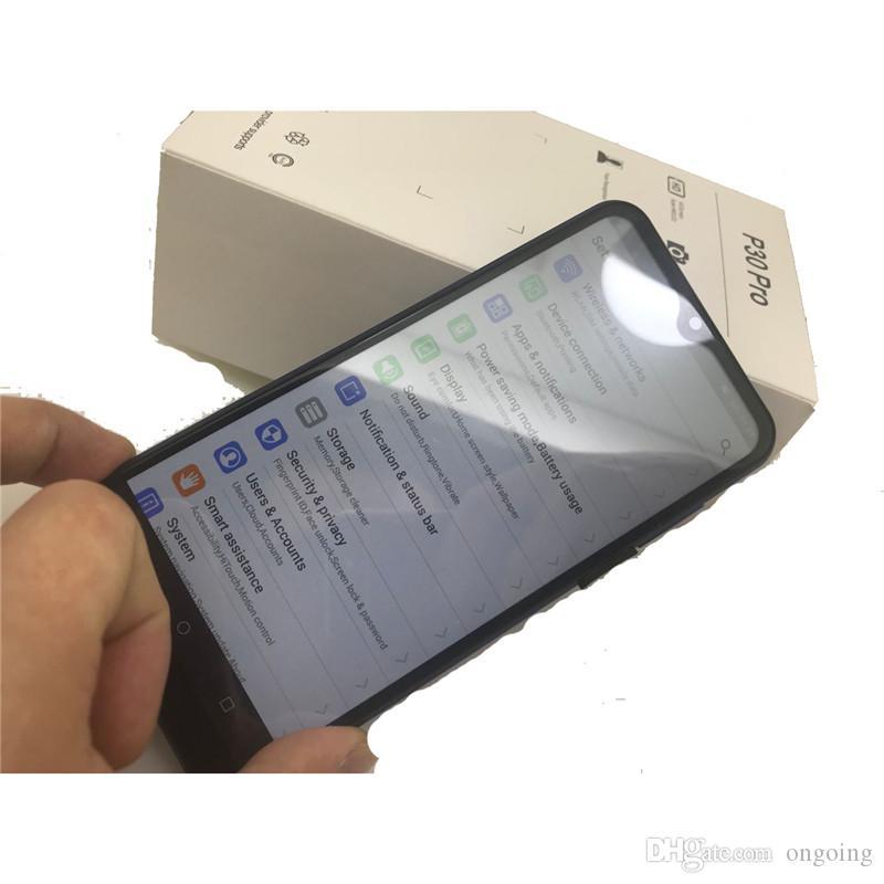 GooPhone P30 6.5inch Pro Android 9.0 Voir 8 Go 128Go Voir WCDMA 3G 4G Lte débloqué SmartPhone avec boîte scellée originale