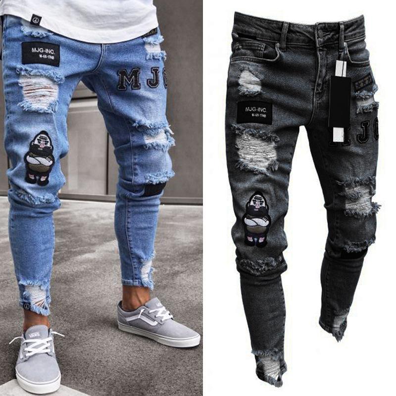 2019 Hip Pantalon Yofeai Streetwear Déchiré Hop Destroyed Denim Hommes En Jeans Pour Nouveau yvmI6gfYb7