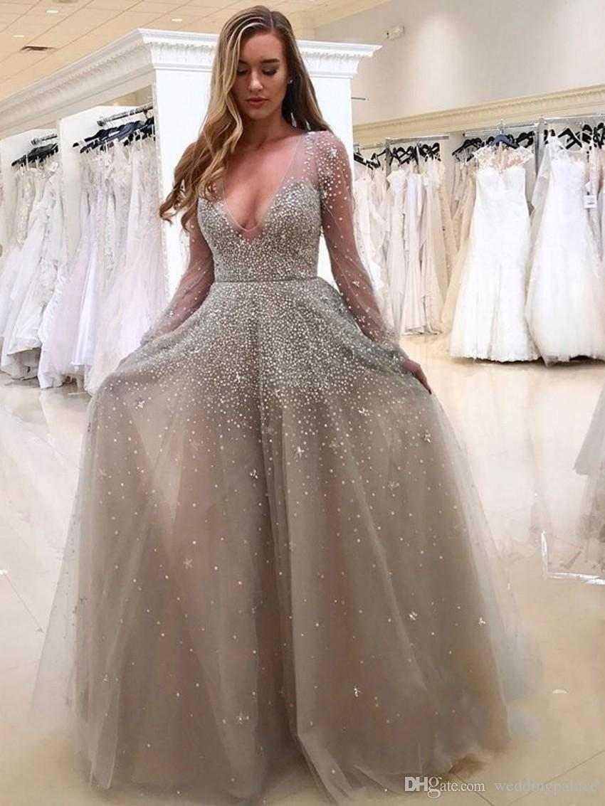 5b6e4f43bba0 Deep Low Cut V Neck Gray Prom Dresses With Beads Long Sleeves Floor Length  Zipper Back Tulle Prom Gowns Custom Made Formal Occasion Dresses Ball Gown  Prom ...