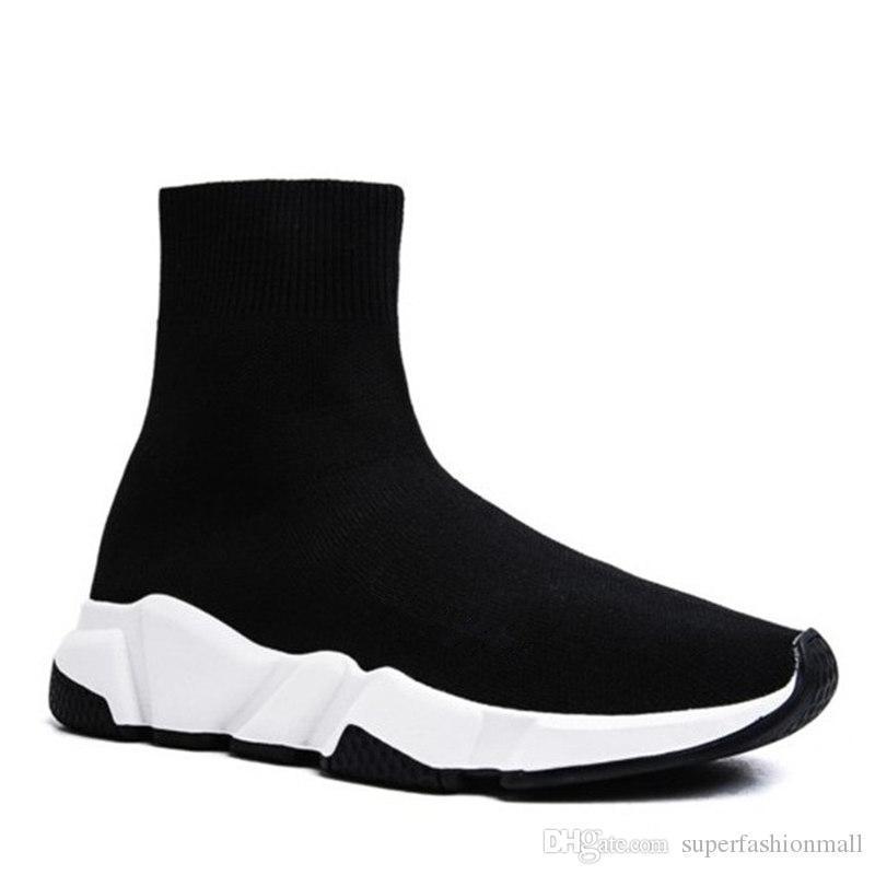 a57df00bb Compre Paris Triple S Zapatos Casuales Diseñador De La Marca De Moda Zapatos  De Calcetín Entrenador De Velocidad Negro Rojo Triple Negro Calcetines ...