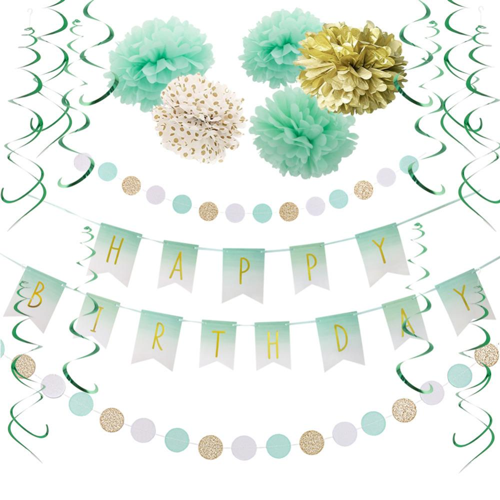 Mint Green Birthday Party Decoration Happpy Birthday Banner Circle Dots Garland Hanging Swirl Decor Tissue Paper Pom Pom Flowers