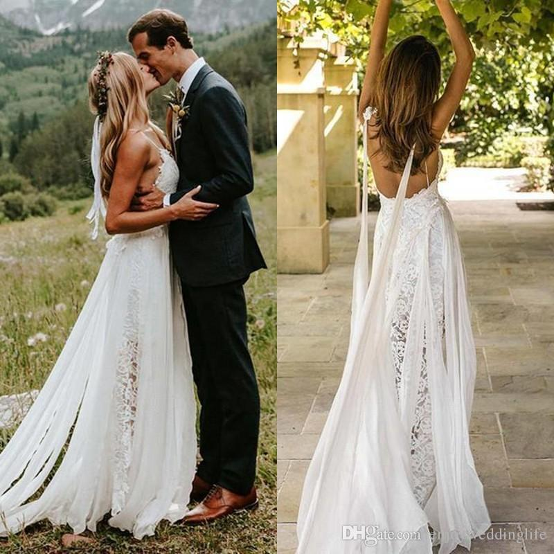 Sexy Vestidos de Casamento de Praia 2020 V Neck Lace Bohemian Wedding Dress Com Wrap Backless Boho Vestidos de Noiva Personalizado BM1512