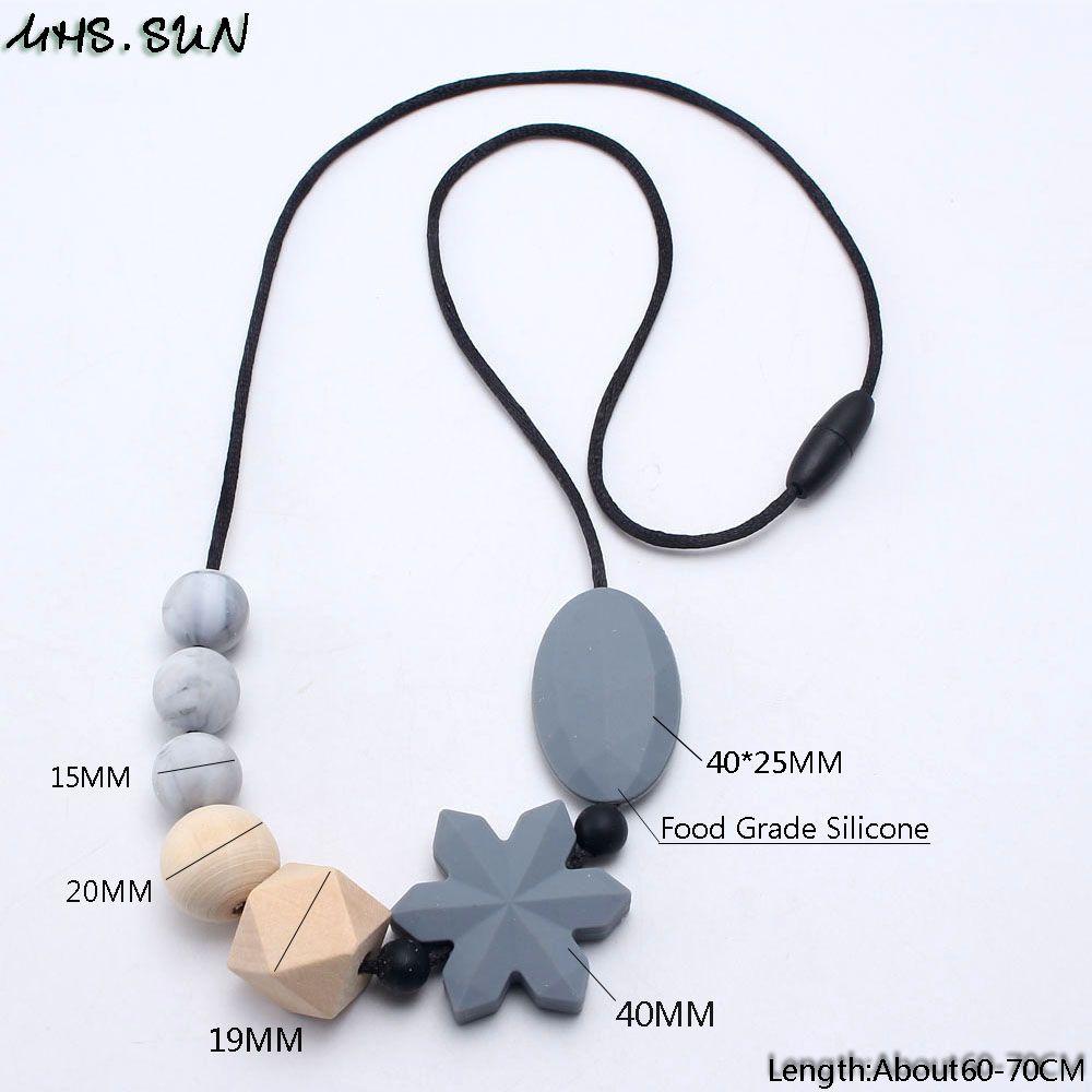 MHS.SUN 실리콘 구슬 원래 나무 구슬과 눈송이 목걸이 Baby Teething Nursing Necklace 음식 학년 Chewable Jewelry