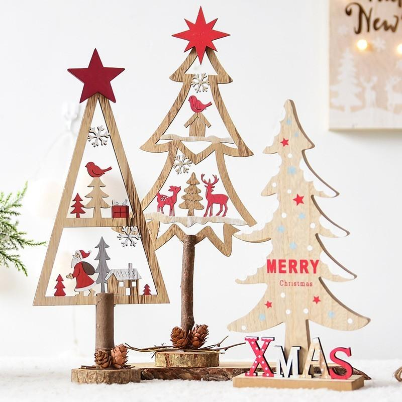 2018 Fashion Wood Christmas Trees With Star Nature Color Ornaments